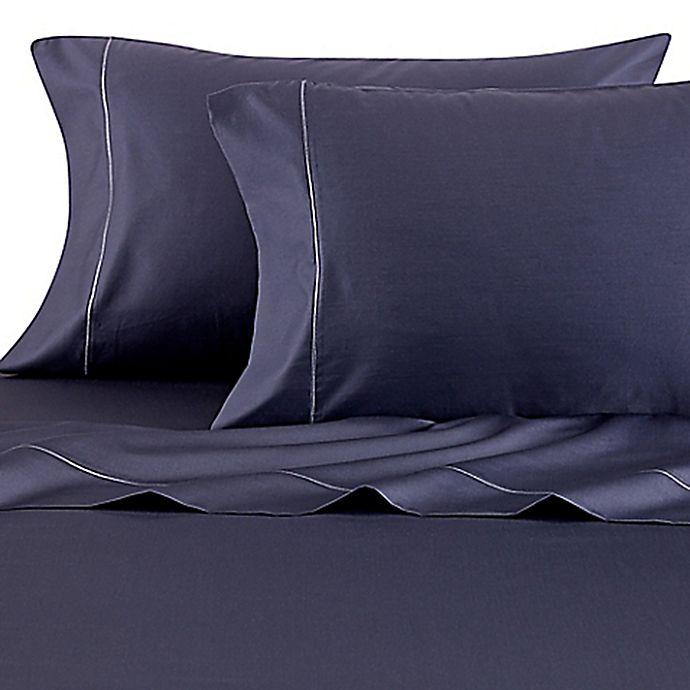 Alternate image 1 for Wamsutta® Solid 500-Thread-Count PimaCott® Full XL Sheet Set in Denim