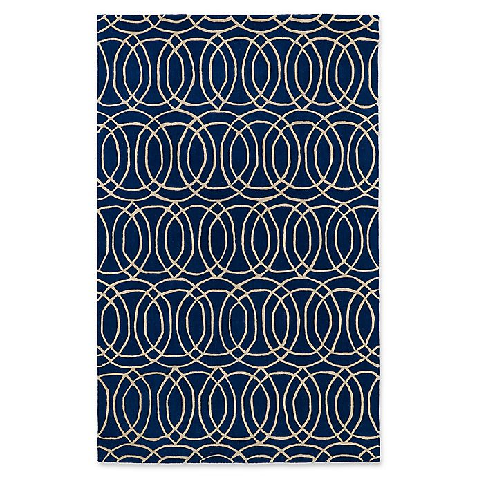 Alternate image 1 for Kaleen Revolution Circles 9-Foot 6-Inch x 13-Foot Area Rug in Navy