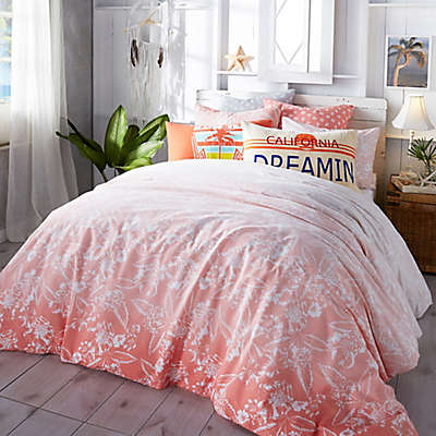Hang Ten Ombre Hibiscus Comforter Set in Coral