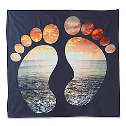 Hang Ten Woodgrain Sunset Feet Tapestry in Navy