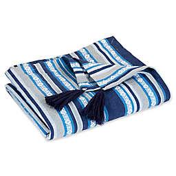 Hang Ten Woodgrain Woven Stripe Throw Blanket in Navy