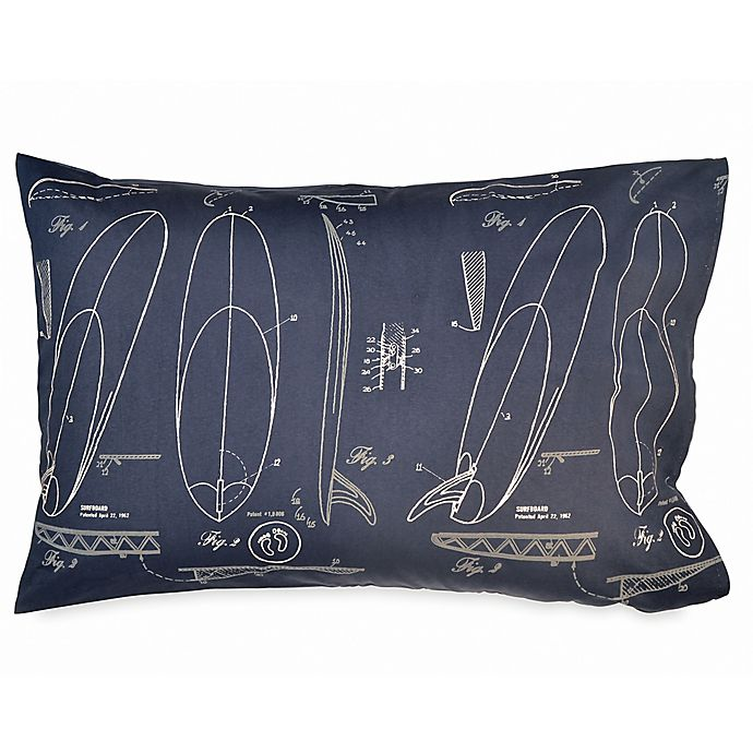 Alternate image 1 for Hang Ten Sunset Stripe Surfer's Sketch Standard Pillowcase in Navy