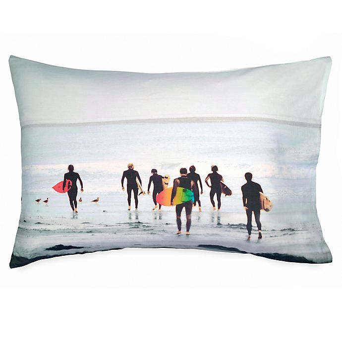 Alternate image 1 for Hang Ten Ombre Hibiscus Surfers Standard Pillowcase in Grey