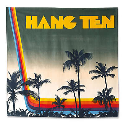 Hang Ten Ombre Hibiscus Sunset Stripe Tapestry in Blue