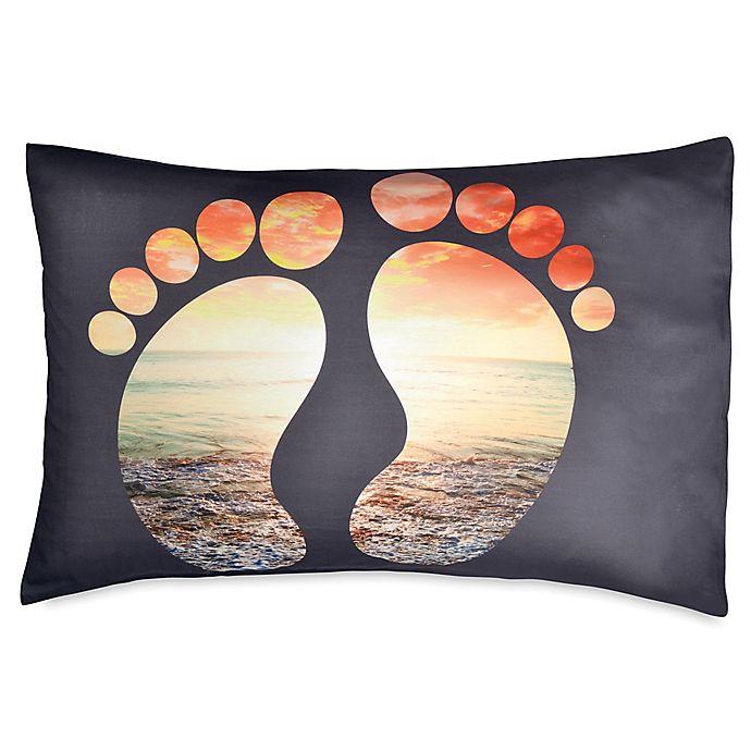 Alternate image 1 for Hang Ten Surfboard Medallion Feet Standard Pillowcase in Black
