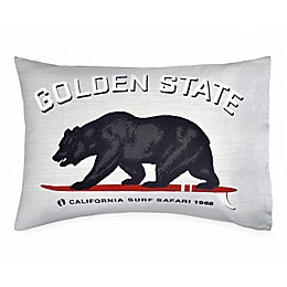 Hang Ten Surfboard Medallion Golden State Standard Pillowcase in Grey