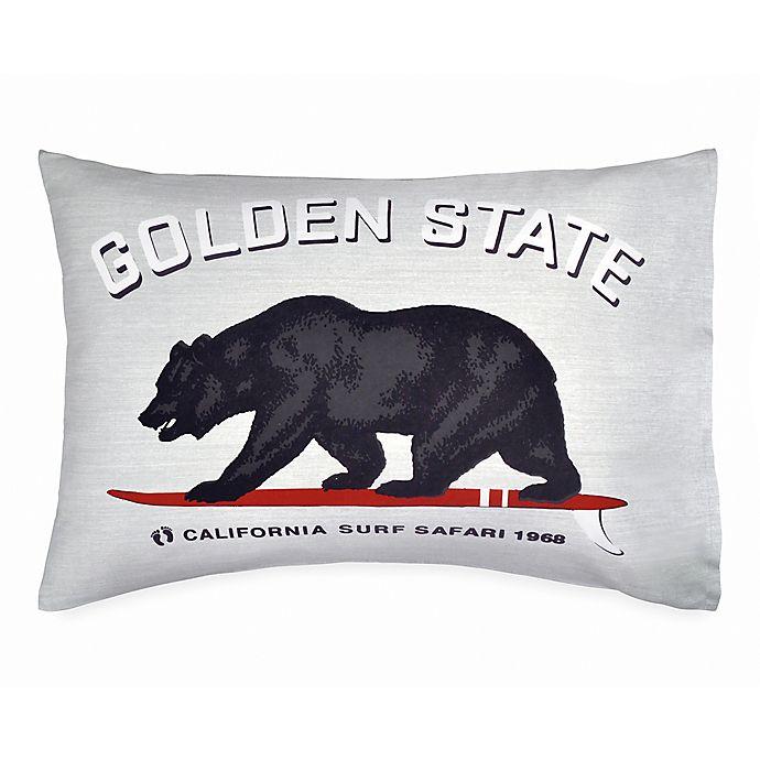 Alternate image 1 for Hang Ten Surfboard Medallion Golden State Standard Pillowcase in Grey