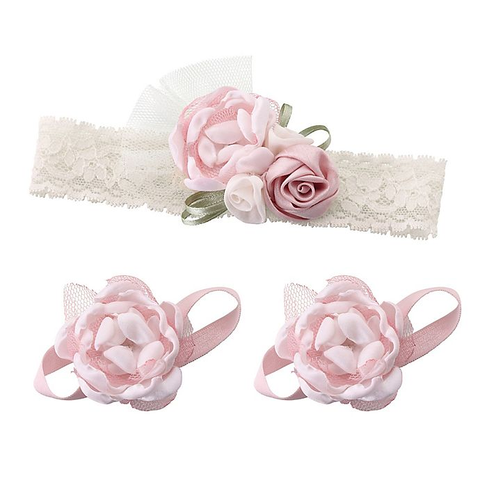 Alternate image 1 for Lillian Rose™ 3-Piece Baby Headband and Barefoot Sandals Set in Pink
