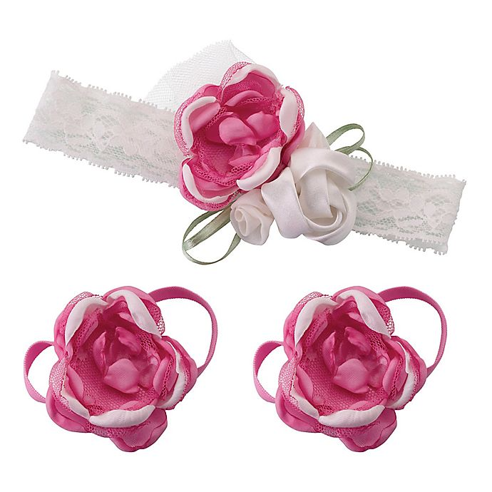 Alternate image 1 for Lillian Rose™ 3-Piece Baby Headband and Barefoot Sandals Set in Hot Pink