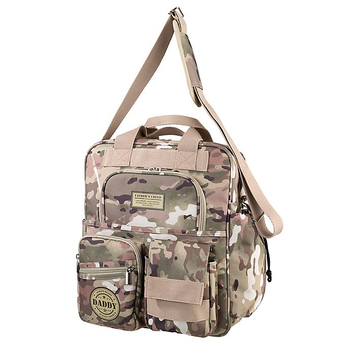 Alternate image 1 for Lillian Rose™ Military Camouflage Daddy Diaper Bag in Tan/Green