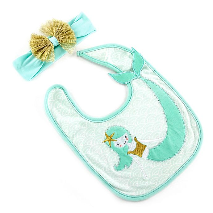 Alternate image 1 for Baby Aspen Size 0-6M Simply Enchanted Mermaid Bib and Headband Set