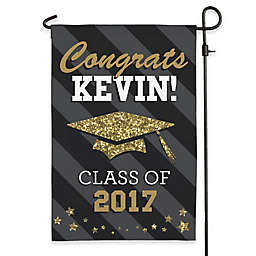 Happy Graduation Garden Flag in Black