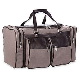 Piel® Leather Duffle Bag with Pockets in Chocolate