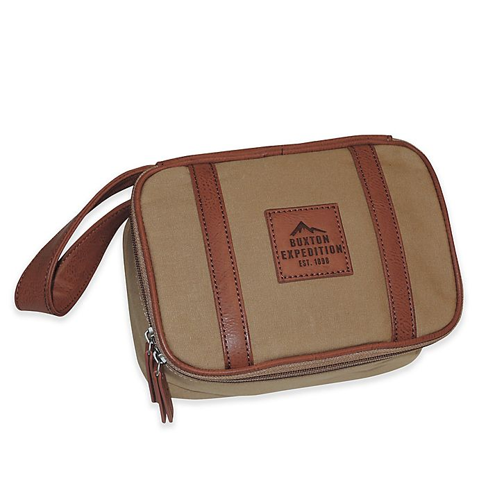 Alternate image 1 for buxton® 8.5-Inch Huntington Gear Top Zip Travel Kit in Tan