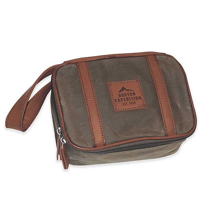Alternate image 1 for buxton® 8.5-Inch Huntington Gear Top Zip Travel Kit in Olive