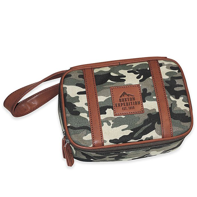 Alternate image 1 for buxton® 8.5-Inch Huntington Gear Top Zip Travel Kit in Camo