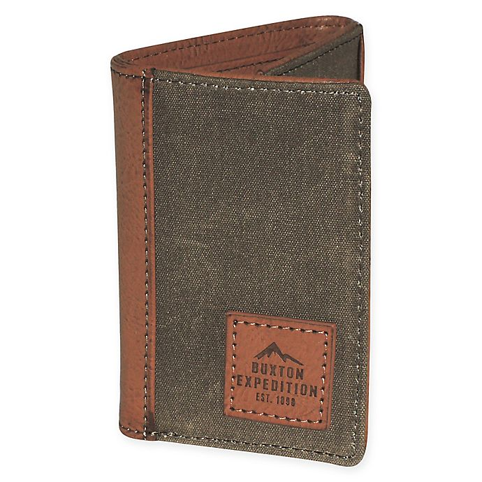 Alternate image 1 for Buxton® Expedition II Huntington Gear RFID-Blocking Tri-Fold Wallet in Olive