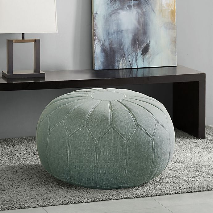 Alternate image 1 for Madison Park Kelsey Round Ottoman in Seafoam