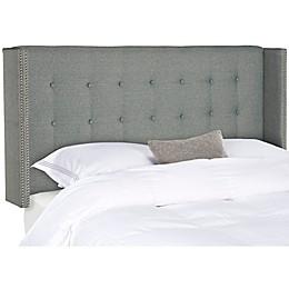 Safavieh Keegan Linen Tufted Upholstered Queen Headboard in Grey