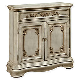 Pulaski Esprit Weathered Floral 2-Door Hall Chest in Weathered White