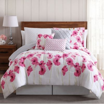 Springfield Floral 12 Piece Comforter Set In Pink White