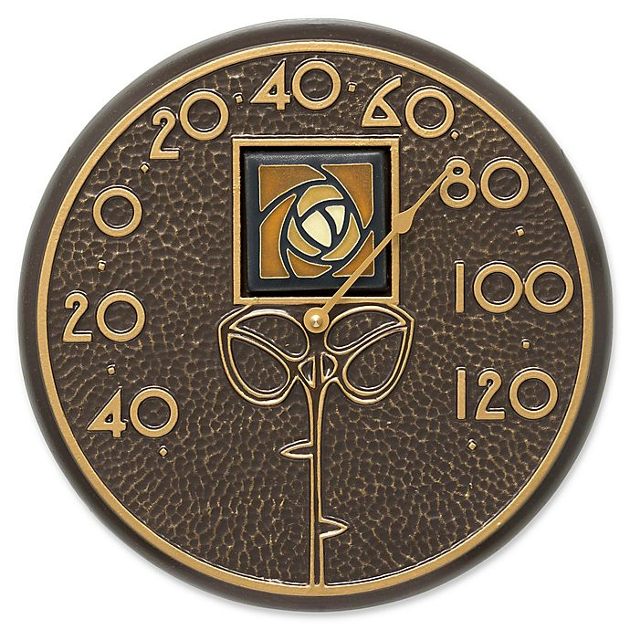 Alternate image 1 for Whitehall Products Dard Hunter Rose Outdoor Wall Thermometer in Amber/French Bronze