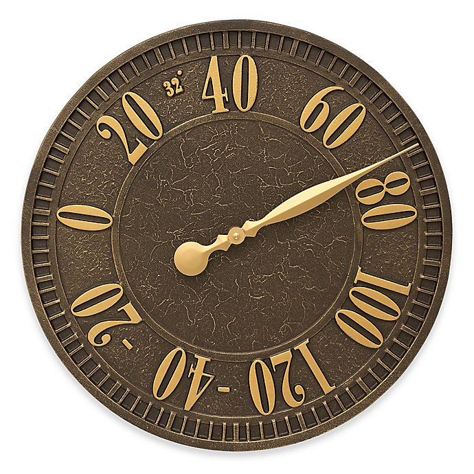 Alternate image 1 for Whitehall Products Geneva Indoor/Outdoor Wall Thermometer in Aged Bronze