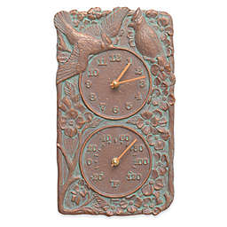 Whitehall Products Cardinal Indoor/Outdoor Wall Clock and Thermometer in Copper Verdigris