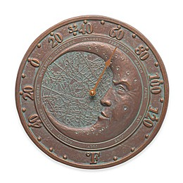 Whitehall Products Moon Indoor/Outdoor Wall Thermometer in Copper Verdigris