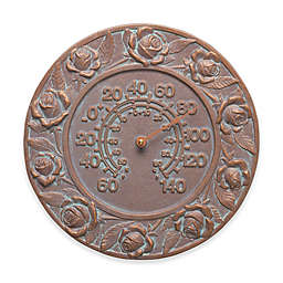 Whitehall Products Rose Indoor/Outdoor Wall Thermometer in Copper Verdigris