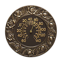 Whitehall Products Rose Indoor/Outdoor Wall Thermometer in French Bronze