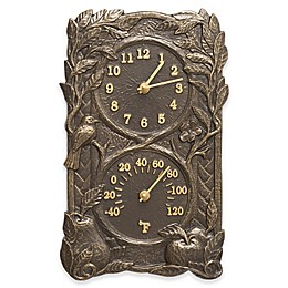 Whitehall Products Bird Indoor/Outdoor Wall Clock and Thermometer in French Bronze