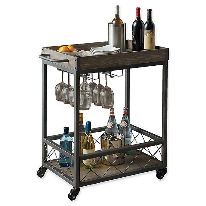 Alternate image 1 for Modern Farmhouse Industrial Bar cart in Grey