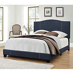 Pulaski Modified Camel Back Queen Upholstered Bed in Blue