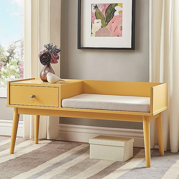 Alternate image 1 for iNSPIRE Q® Starling Mid-Century Telephone Bench in Yellow