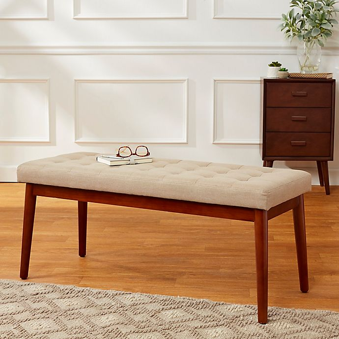 Outstanding Mid Century 40 Inch Tufted Linen Bench Bed Bath Beyond Ibusinesslaw Wood Chair Design Ideas Ibusinesslaworg