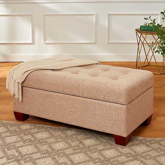 Tufted Lid 40 Inch Storage Bench With Walnut Feet In Almond Bed