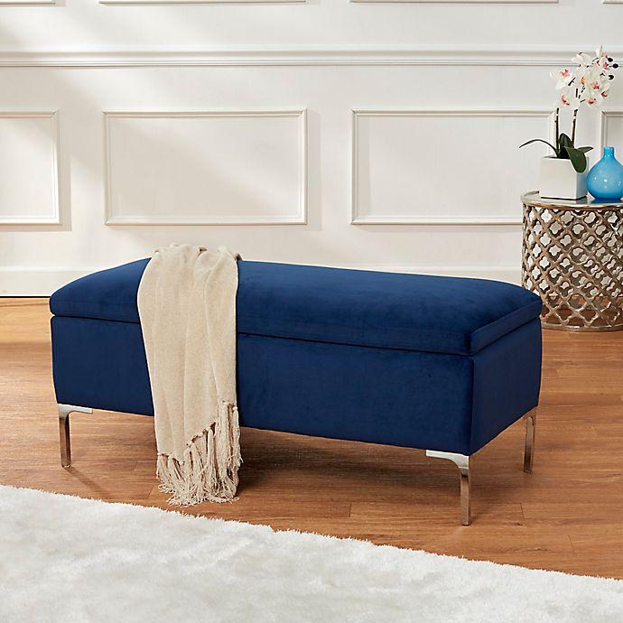 Miraculous Velvet 40 Inch Storage Bench With Metal Legs In Navy Ibusinesslaw Wood Chair Design Ideas Ibusinesslaworg