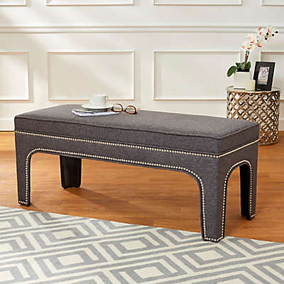 Enchanted Home Arched Bench with Silver Nailhead Trim in Grey