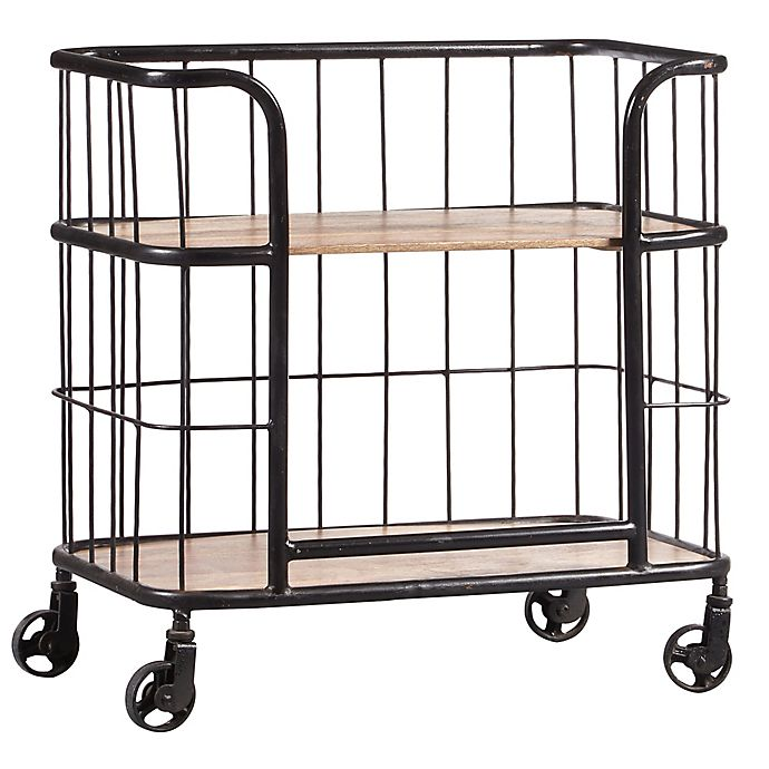 Alternate image 1 for Pulaski Industrial Wood and Metal Trolley Bar Cart in Brown