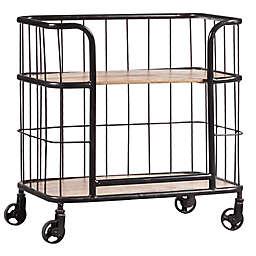 Pulaski Industrial Wood and Metal Trolley Bar Cart in Brown