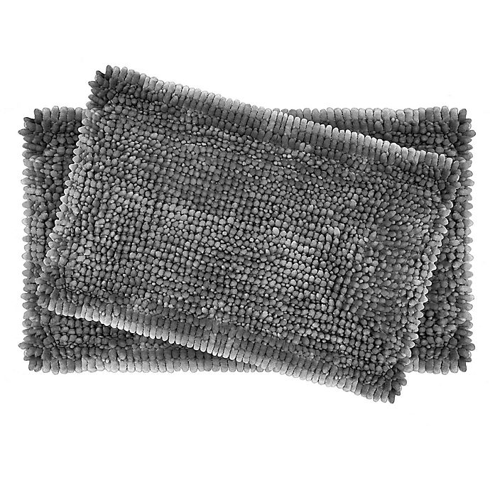 Alternate image 1 for Laura Ashley® Butter Chenille Bath Rugs in Charcoal (Set of 2)