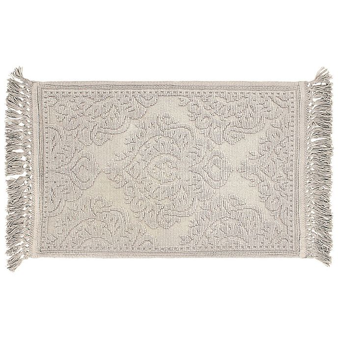 Alternate image 1 for Ricardo Cotton Fringe 21-Inch x 34-Inch Bath Rug in Light Grey