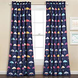 Umbrella 84-Inch Room Darkening Rod Pocket Window Curtain Panels in Navy (Set of 2)