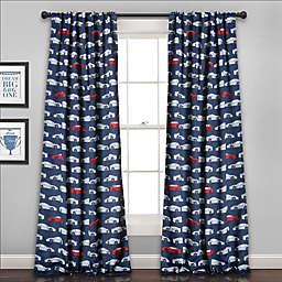 Race Cars 84-Inch Room Darkening Rod Pocket Window Curtain Panel Pair in Navy/Red