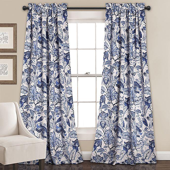 Alternate image 1 for Cynthia Jacobean 84-Inch Room Darkening Rod Pocket Window Curtain Panel Pair
