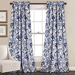 Cynthia Jacobean 84-Inch Room Darkening Rod Pocket Window Curtain Panel Pair