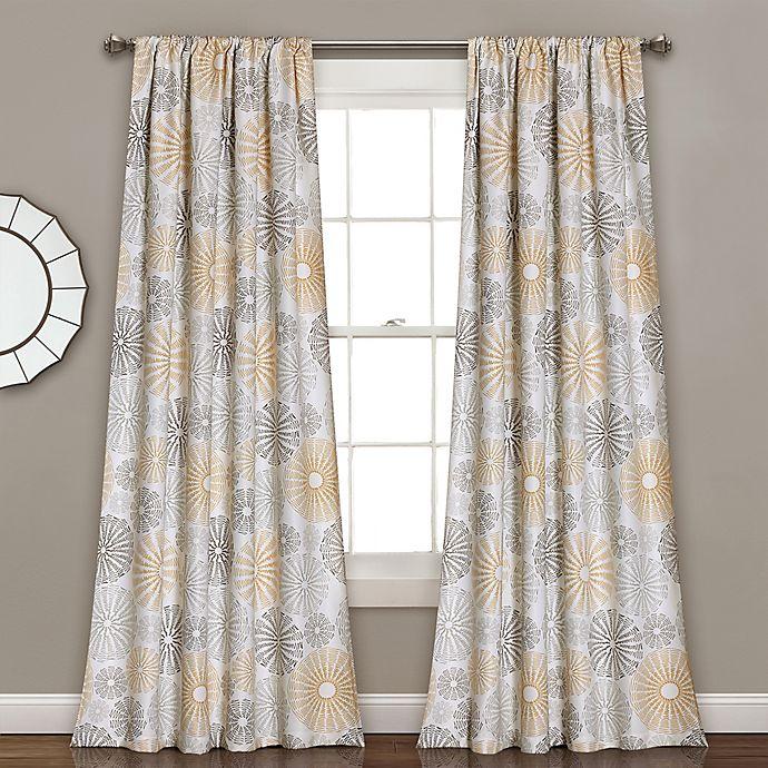 Alternate image 1 for Multi Circles 84-Inch Room Darkening Window Curtain Panel Pair in Yellow/Grey