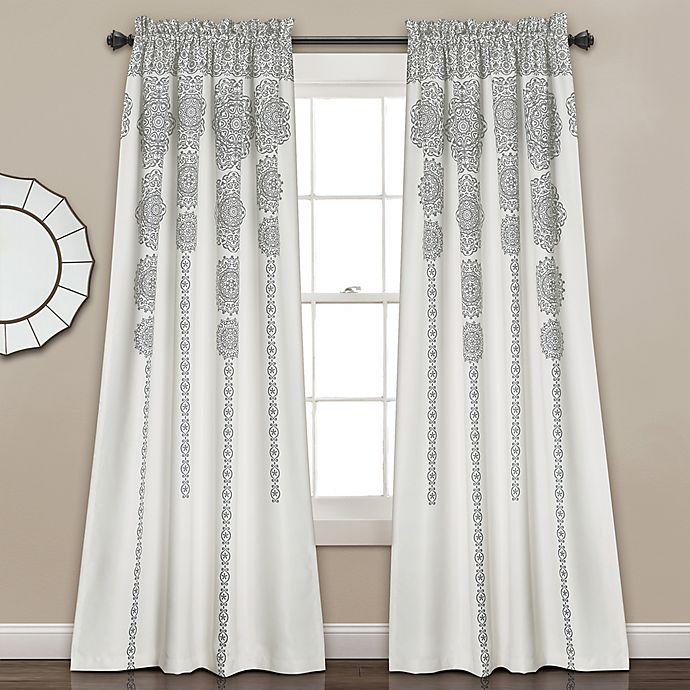 Alternate image 1 for Lush Décor Stripe Medallion 84-Inch Room Darkening Window Curtain Panel Pair in Grey