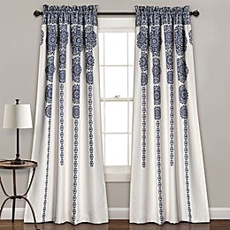 Lush Décor Stripe Medallion 84-Inch Room Darkening Rod Pocket Window Curtain Panel Pair
